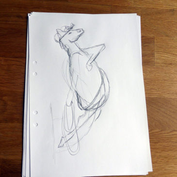 Sketches for the figurehead horse