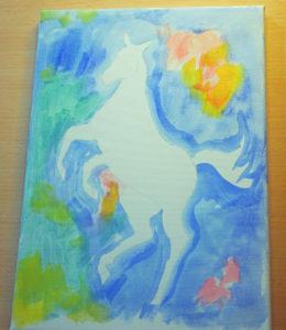 Början till en tavla - bakgrunden målad med utspädda färger