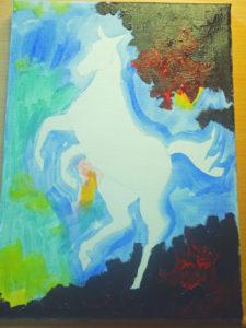 Påbörjad bakgrund till en hästtavla