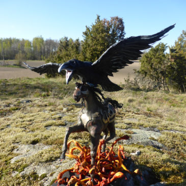 A raven, a horse and fire snakes
