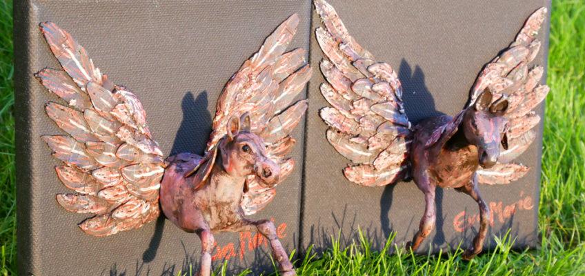 horse sculpture on canvas