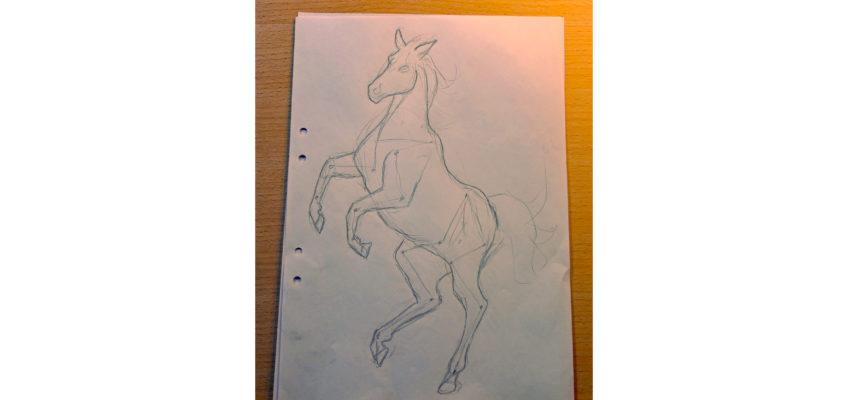 Blyertsskiss av en häst som stegrar sig