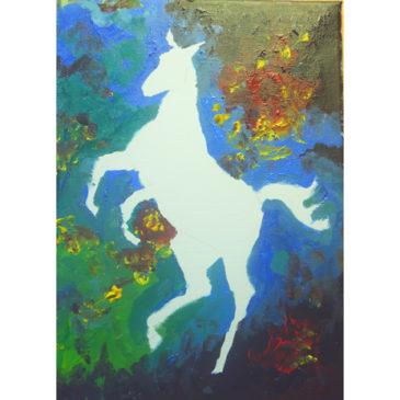 Bakgrunden målad till en hästtavla