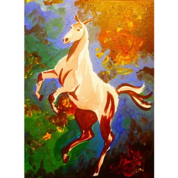 Påbörjad tavla med stegrande häst