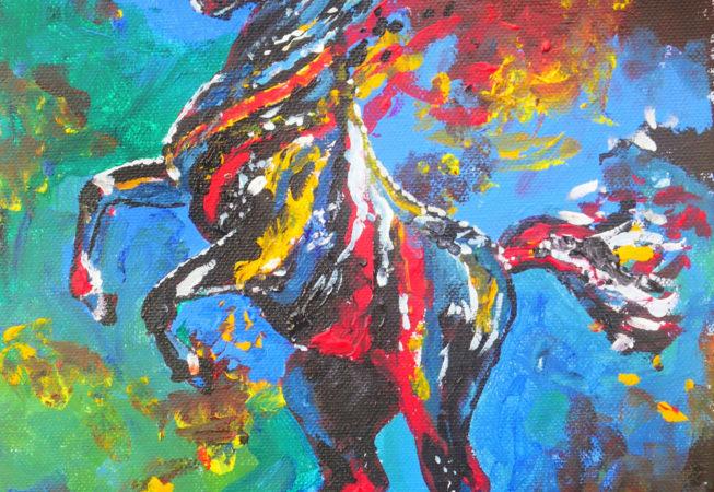 Tavla med stegrande häst i klara färger - Whirlwind