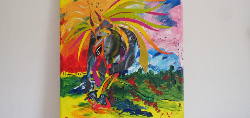 Färgsprakande tavla med hästhuvud