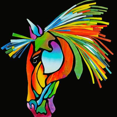 Hästhuvud med färg på svart botten