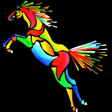 Stiliserad och färgrik hoppande häst