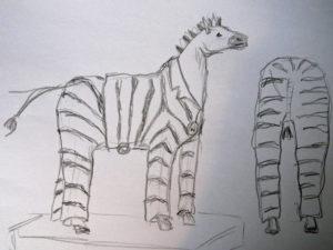 Skiss - häst i pyamas