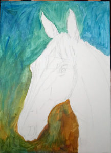 Tavla av hästhuvud där endast bakgrunden är målad