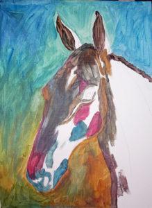 Början på tavla av hästhuvud med endast få färger på plats