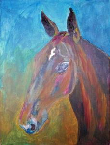 Hästhuvud i acrylmålning - inte färdiga