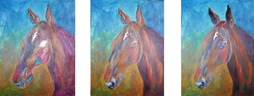 Hästporträtt i akrylmålning i tre faser - inte färdigt