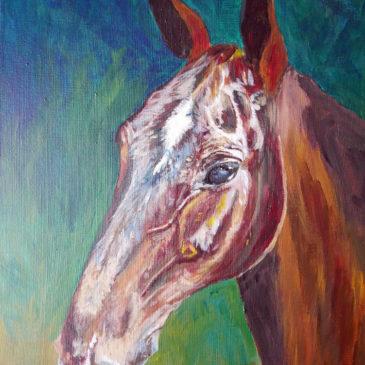 Hästporträtt i acryl, work in progress