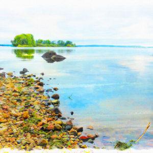 Canvastavla strand vid Roxen med ö
