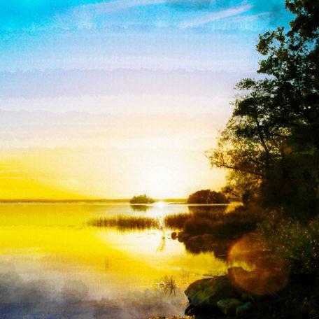 Canvastavla solnedgång vid Roxen