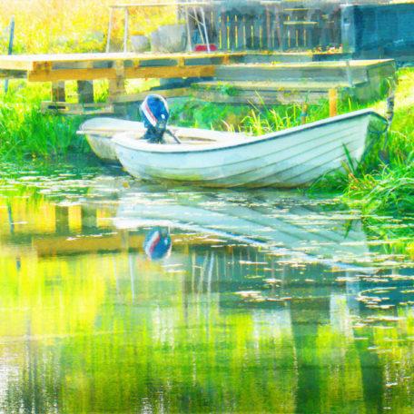Canvastavla båt vid Roxen