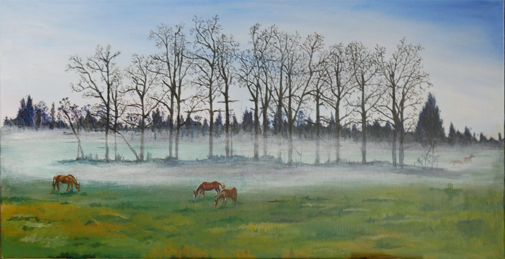 WIP - painting wih grazing horses