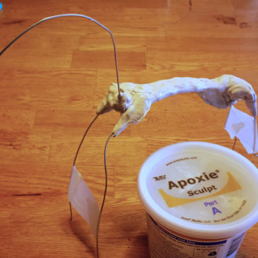 A steel wire armature for a polymer clay hose sculpture