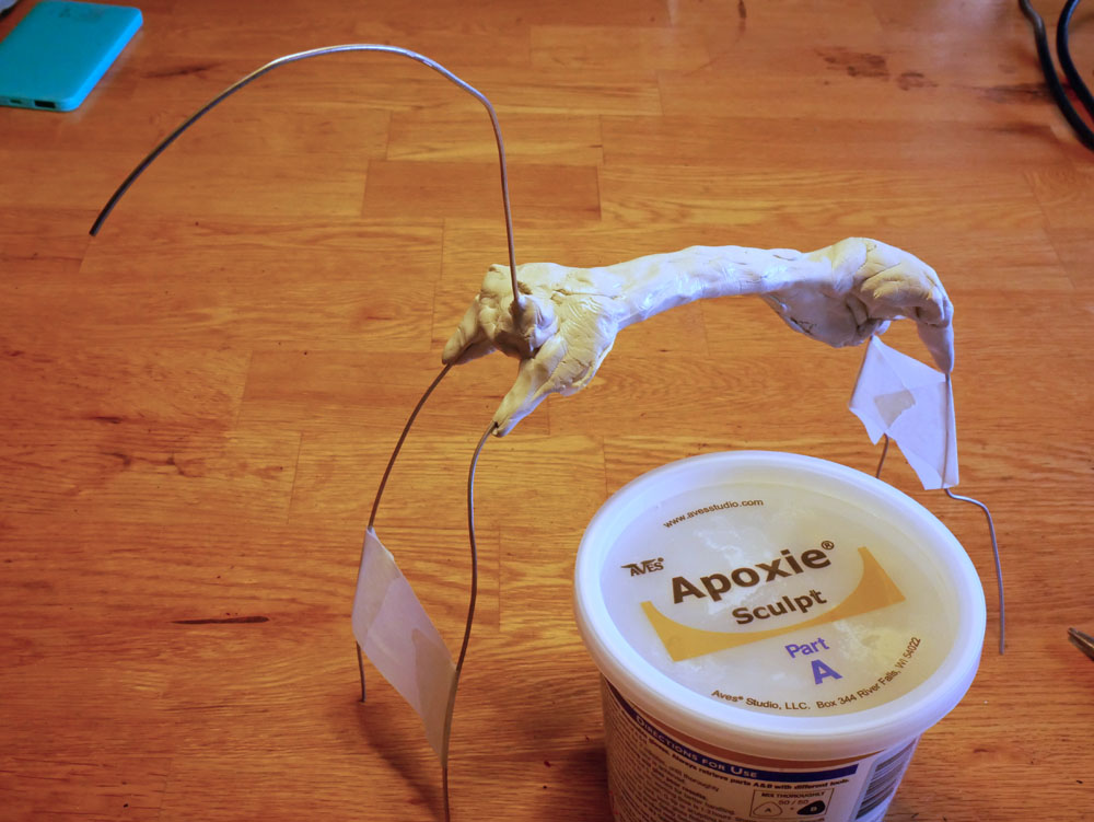 Steel wire armature for a horse sculture and Apoxie Sculpt