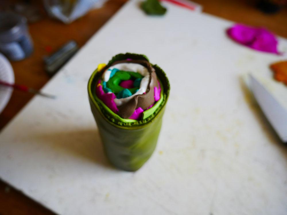 Round polymer clay cane.