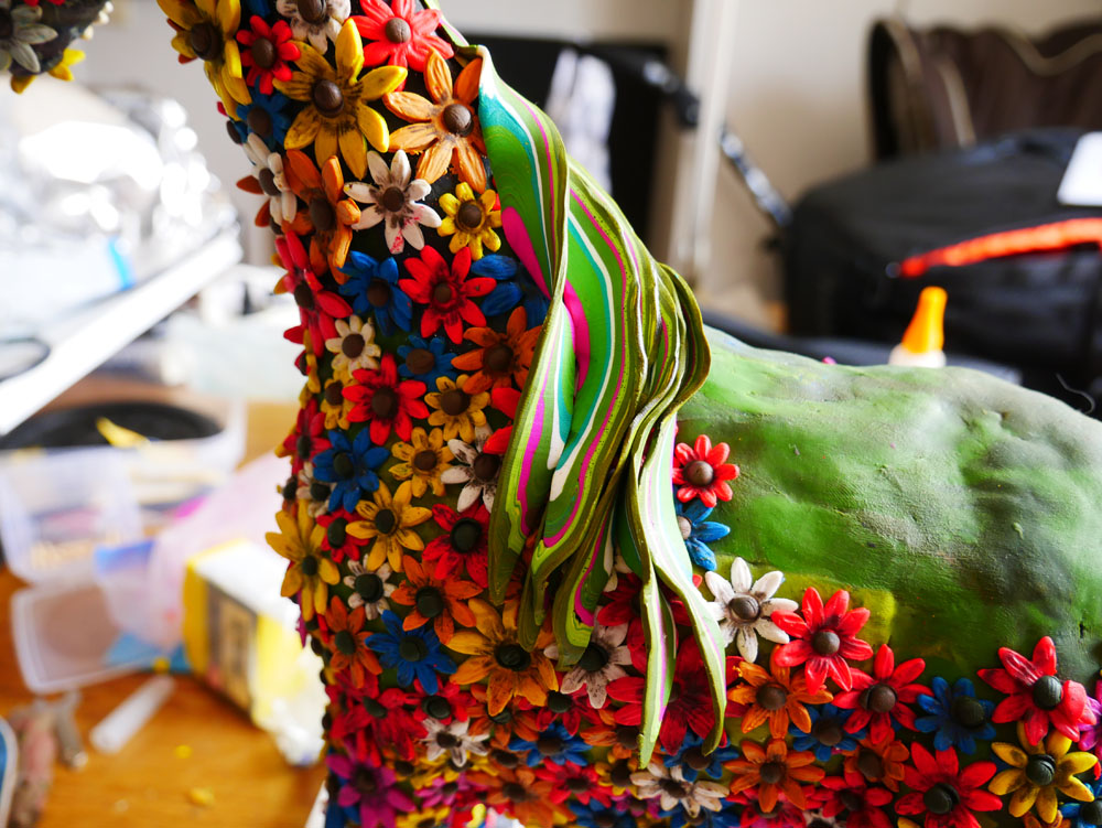 Detail of a polymer clay horse sculpture - work in process.