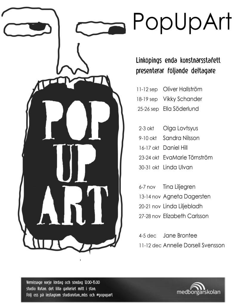Affisch med deltagarnamn PopUArt 2021